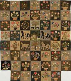 "Why Quilts Matter – Question and Answer with Lynne Bassett - Emily Wiley Munroe ""Civil War"" quilt. The detail is amazing! Primitive Quilts, Antique Quilts, Vintage Quilts, Applique Quilt Patterns, Wool Applique, Wool Embroidery, Flower Applique, Wool Quilts, Appliqué Quilts"