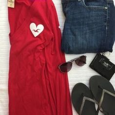 I just discovered this while shopping on Poshmark: Red Hollister Heart Tee. Check it out! Price: $13 Size: M
