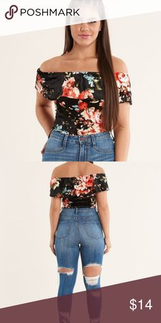 🔥🔥NEW! Velvet Off Shoulder Ruffle Bodysuit Velvet floral bodysuit that is off the shoulder. Super trendy! The body suit has a snap closure. Get in with the trend this season it's all about velvet! Discovery Tops Tank Tops