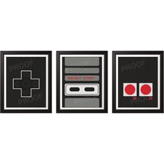 NES Controller Print Set - 8x10 Prints - art for the game room.