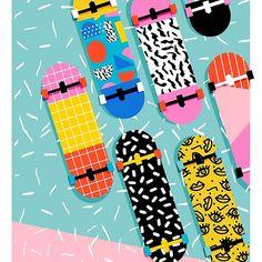 Skateboards Discover Omigod - retro memphis skateboards pattern sports trendy vintage style retro by wackadesigns Omigod - retro memphis skateboards pattern sports trendy vintage style retro Painted Skateboard, Skateboard Deck Art, Skateboard Design, Skateboard Girl, Surfboard Art, Style Retro, Vintage Style, 80s Style, Longboard Design