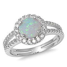 Halo Split Shank Wedding Engagement Ring Sterling Silver Opal CZ - Opal Jewelry - Ideas of Opal Jewelry Ladies Silver Rings, Opal Wedding Rings, Engagement Ring Sizes, Wedding Engagement, Opal Jewelry, Jewlery, Womens Jewelry Rings, Jewelry Ideas, Women Jewelry