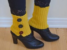 Spats, Yellow, Boot Cuffs, Crochet, Spats with Buttons, Mustard, Boot Spats, Ankle Cuffs, Unique Gift, Ankle Warmers, Womens, Leg warmers via Etsy Steampunk Accessories, Winter Accessories, Crochet Accessories, Crochet Boot Cuffs, Crochet Boots, Knit Leg Warmers, Boho Boots, Yellow Boots, Boot Toppers