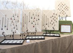 Look on this flicker stream for entire booth display. Very nice and classy. Would appeal to sophisticated buyers. Stall Display, Display Ideas, Booth Ideas, Craft Font, Jewelry Booth, Necklace Display, Necklace Holder, Jewelry Holder, Craft Stalls