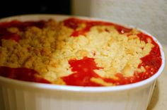 Strawberry-rhubarb crumble, baked. This is the basic crumble recipe I use for rhubarb-only crumble, except: 4x the rhubarb, 2x the sugar, add a pinch of cinnamon.