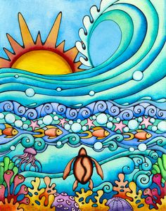 Sunrise Surf Turtle Ocean Sea Coral Honu Sun Waves Fish Water Acrylic Tray by Holly Kitaura Art - Medium 15 x Cosplay Steampunk, Ocean Drawing, Hawaiian Art, Look Boho, Sun Art, Tropical Art, Posca, Ocean Art, Whimsical Art