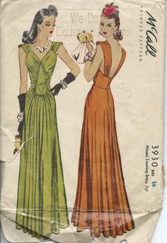 McCall 3930: Misses' evening dress from 1940