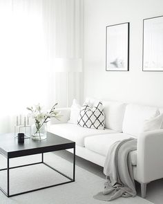 Gray and white how I need my living room but no kids allowed in it!