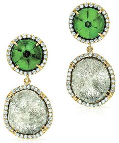Pamela Huizenga's 18k gold earrings with sliced diamonds, Trapiche emeralds and diamond accents.