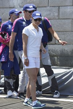 Crown Princess Victoria of Sweden during the second day of her visit to the Volvo Ocean Race on June 5, 2015 in Lisbon, Portugal.