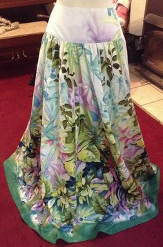 Tropical Hawaiian long skirt of Michael Miller fabric. Made by Virginia Smith with Show Me Sewing for Trenna Travis design studio.