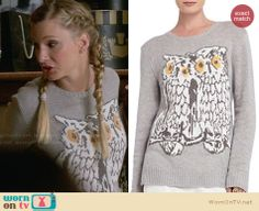 Brittany's owl sweater on Glee.  Outfit Details: http://wornontv.net/32452/ #Glee