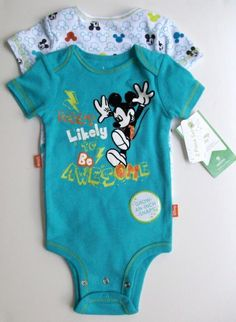 Set of 2 Mickey Onsies with Grown An Inch Snaps! 9 month old.