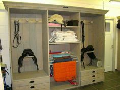 Tack Locker from a recycled entertainment center! Love this!
