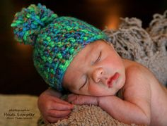 Hand crocheted newborn baby hat. Cute for Boy or Girl !
