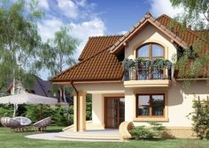 Projekat kuće sa potkrovljem i garažom – Minor Villa Design, House Design, Bungalow House Plans, Grand Entrance, Little Houses, Home Fashion, Cozy House, Sweet Home, Floor Plans