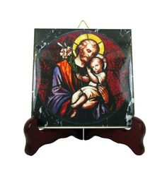 New on #etsy: Saint Joseph with Child Jesus - catholic icon on ceramic tile 100% handmade in Italy by @terrytiles2014 #saintjoseph #holyart #devotionalgift #childjesus http://etsy.me/2B8oiSz