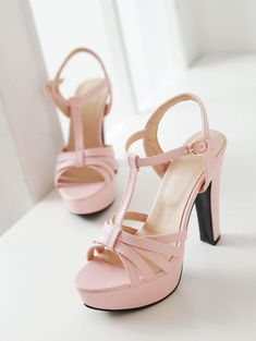 Women T Straps High Heels Platform Sandals Shoes MF4187