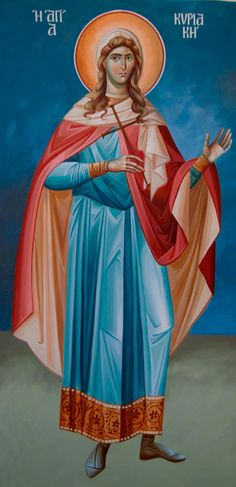 St. Kyriaki (born in Nicomedia in 268 - died in Chalcedon on Jul. 7, 289) - Greek martyr who was executed during the Persecutions of Diocletian. Her defiance of pagan authorities and Roman officials made her popular with many converts. Her survival of many tortures and the miracles that accompanied them made her a leading Christian figure. She was beheaded for her faith.