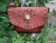 Купить Кожаная сумочка через плечо ′Ракушка′ в Украине