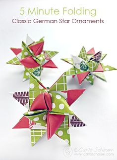 Start Out Your Very Own Sewing Company How To Make German Star Ornaments For Christmas Carla Schauer Designs Paper Christmas Ornaments, Christmas Holidays, Oragami Christmas Ornaments, Diy Ornaments, Folded Fabric Ornaments, Christmas 2019, German Christmas Decorations, Christmas Offers, Christmas Card Crafts