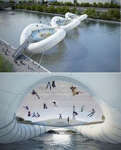 "A bridge in Paris (called ""A Bridge in Paris"") is made of inflatable tubing and three giant interconnected trampolines, designed by AZC Architecture Studio. SO COOLLLLL"