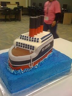 Cruise boat Cake with real smoke stacks