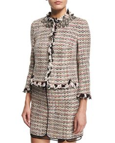 Giambattista Valli Tweed Jacket W/Embellished Collar & Tweed Skirt w/Organza Underlay