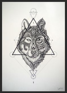 Wolf drawing made with fineliners #wolf #tattoo #triangle #graphic #creavtive