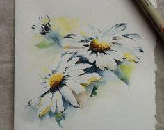 Witte margriet aquarel geschilderd Card - origineel of Print