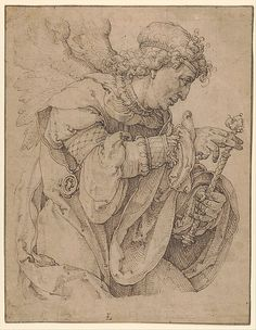 Lucas van Leyden (1494–1533).   The archangel Gabriel announcing the birth of Christ. 1520-1530. Pen in brown. 21.1 × 16.5 cm. New York, Metropolitan Museum of Art.
