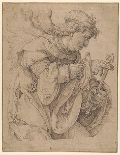 Lucas van Leyden (1494–1533).   The archangel Gabriel announcing the birth of Christ. 1520-1530. Pen in brown. 21.1 × 16.5 cm. New York, Metropolitan Museum of Art.