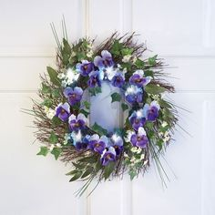 Spring Floral Purple Pansy Lit Door Home decor wreath #Unbranded