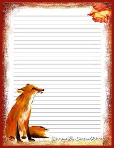 printable stationary fox