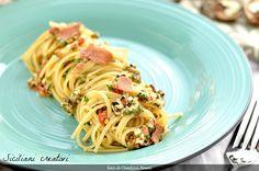 Spaghetti aglio e olio con noci e bottarga di tonno