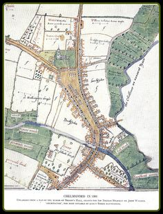 Antique map of Chelmsford, 1591