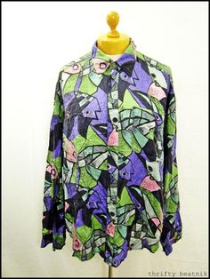 Vintage 1980s 80s Pure Silk Crazy Abstract Fish Paint Print Indie Men's Shirt XL | eBay
