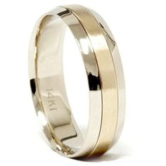 Two Tone ring has a Satin Yellow Gold center and bright White Gold edge. Ring has an approximate measure of in width, and has an approximate weight of 6 grams. Diamond Rings, Diamond Cuts, Mens Wedding Rings Tungsten, Diamond Settings, Diamond Clarity, Colored Diamonds, Fashion Jewelry, Men's Jewelry, Wedding Bands