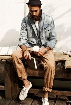 Jeans Jacke + Chino. Bekommst du beides von mir wenn du hier bist!