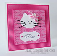 Hello Kitty with Stampin up punches and paper by Patsy Waggoner, This is the card I made for my granddaughter for her 3rd Birthday. Not original --- but so fun and easy to make and she LOVED it.