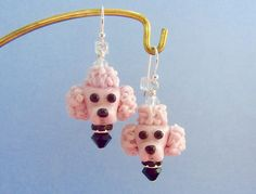 Reserved For Rebecca - Poodle Earrings In Pink - Handmade Lampwork Bead Art SRA by SUZOOM on Etsy