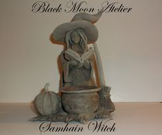 Samhain Witch with Incense Cone Burner Cauldron