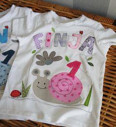 """Geburtstags-T-Shirt+""""Schnecke""""+mit+Namen+und+Zahl+von+Seezauber+am+Meer+auf+DaWanda.com"""