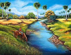 Oil Paintings on Canvas .Cuban Landscape  .      by thebestart1122