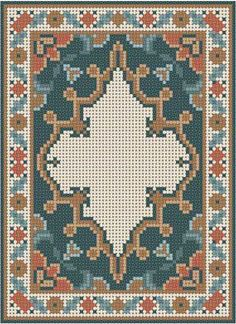 Miniature rug pattern - or - multi functional craft pattern use for: cross stitch chart or cross stitch pattern, crochet pattern, knitting, knotting pattern, b Diy Embroidery, Cross Stitch Embroidery, Embroidery Patterns, Cross Stitch Charts, Cross Stitch Designs, Broderie Bargello, Tapestry Crochet, Patterned Carpet, Rugs On Carpet