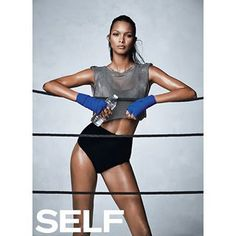 Meet our Monday face. Get @laisribeiro's 6-move boxing workout in our September issue. (styling by @lindseyfrugier,  by @benmorrisphoto, hair @kennalandny, makeup @georgisandev)'