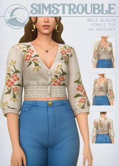 NOLA BLOUSE by simstrouble | simstrouble on Patreon Sims 4 Cc Packs, Sims 4 Mm Cc, Sims Four, Sims 4 Game Mods, Sims Games, Sims 4 Mods Clothes, Sims 4 Clothing, Sims 4 Teen, My Sims