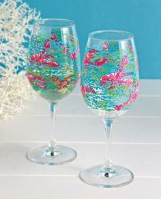 Lilly Pulitzer Acrylic Wine Glasses (Set of 2 for $25)