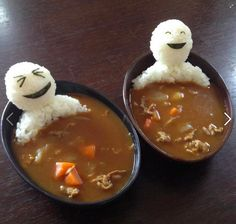 Teru teru bozu bathing in curry.    Teru teru bozu are little tissue paper monks that Japanese people hang outside their windows when they don't want it to rain the next day.