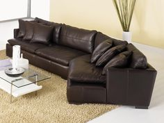 Reno Leather Sectional Sofa with Cuddler - Top Grain, Aniline Leather